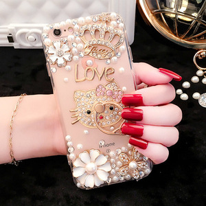 Pearly case with ring buckle Luxury DIY Rhinestone Case Cover for Samsung S8 S8 Plus S7 Edge S6 S5 S4 J5 J7 Prime