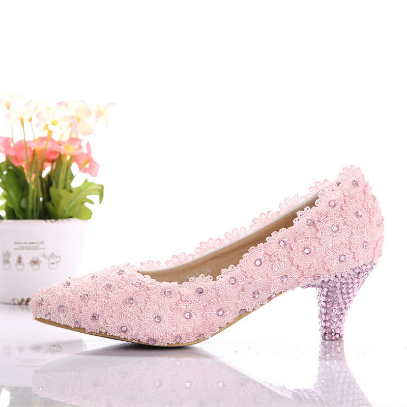 Pink Low Heel Wedding Shoes: Elegant Pink Lace Bride Shoes Lace Wedding Shoes Low Heel
