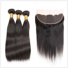 Wholesale virgin brazilian straight human hair 13x4 lace frontal with bundles