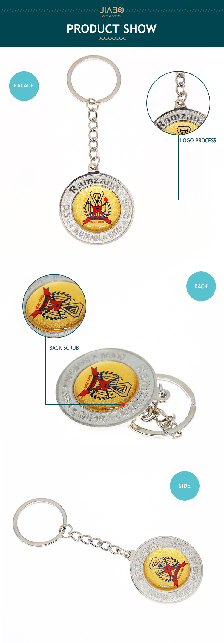 Custom round shape metal fashion enamel keychain with logo