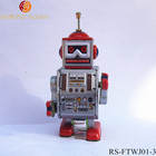 Retro Wind Up Tin Toys MS409 Walking Drummer Robot Clockwork Metal Toys Collectible Gift