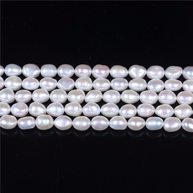 7-8mm irregular shape straight drilled loose freshwater pearl