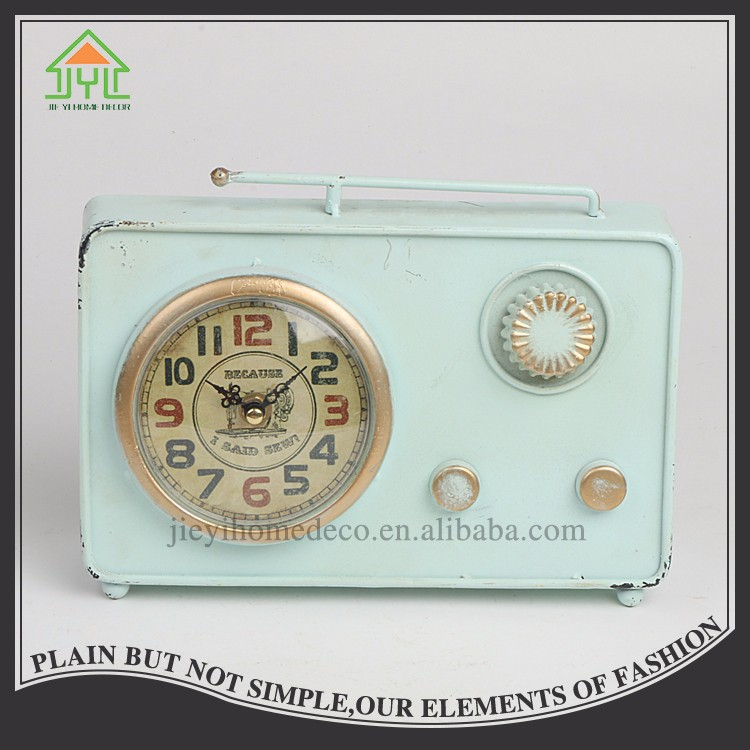 Elderly Radio Stand Metal Iron Study Room Clock