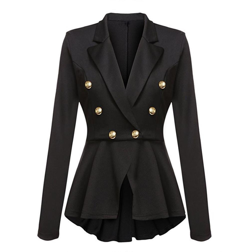 Women Coat, Gillberry Women's Long Sleeve Blazer Ruffles Button Casual Jacket Coat Outwear (Black, XL)