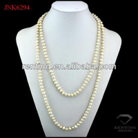 White round shape long freshwater pearl necklace designs
