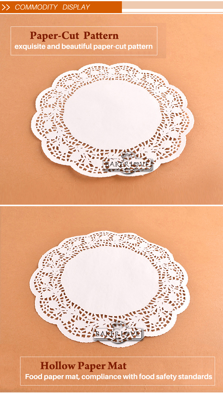 Bakest 13'' White Round Lace Paper Doilies Cake Pastry Doily