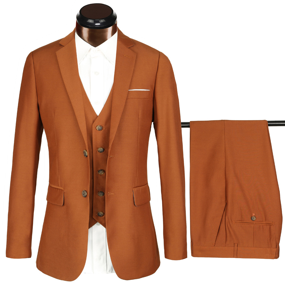 High-end <strong>Formal</strong> Men <strong>Suit</strong> Three Pieces Notched Lapel Brown <strong>Suits</strong>