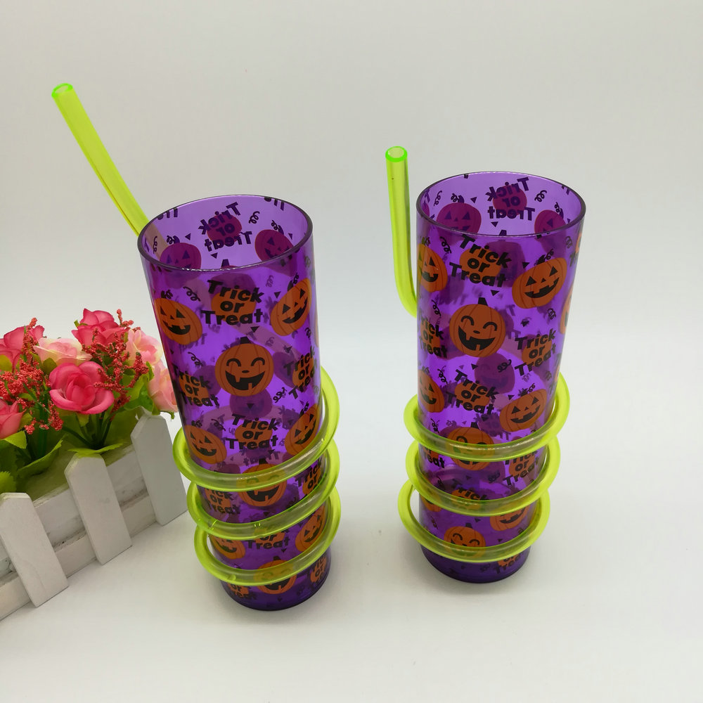 Lighted Straw Plastic Cup Lighted Swirly Straw Tumbler led flashing straw cup
