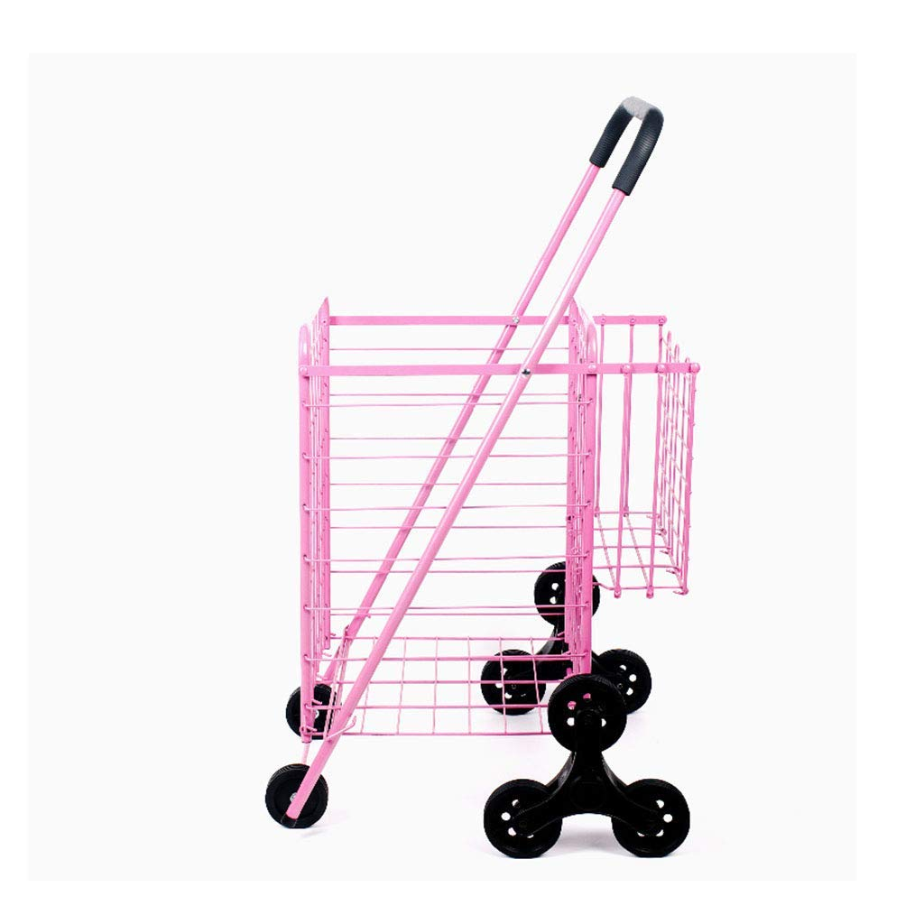 Shopping trolley Foldable Large Shopping cart Double Basket Family Portable Stair car Supermarket Grocery (Color : Pink, Size : 576591cm)