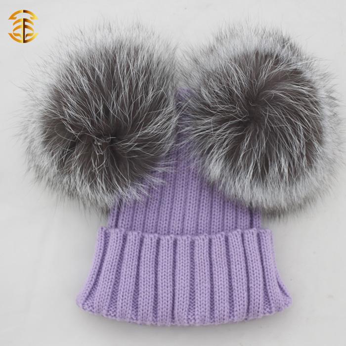 New Fashion Women Winter Cc Beanie Hat With Fox Pom Poms