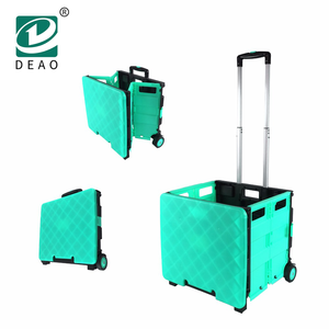 Plastic Collapsible Foldable Shopping Trolley Two Wheels