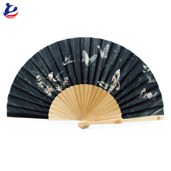 High Quality Wooden Bamboo Material Folding Hand Fan Lace Foldable Hand Fan
