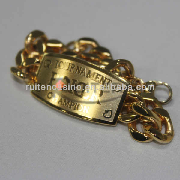 TOURNAMENT POKER CHAIPION Metal Poker Bracelet Gold Bracelet