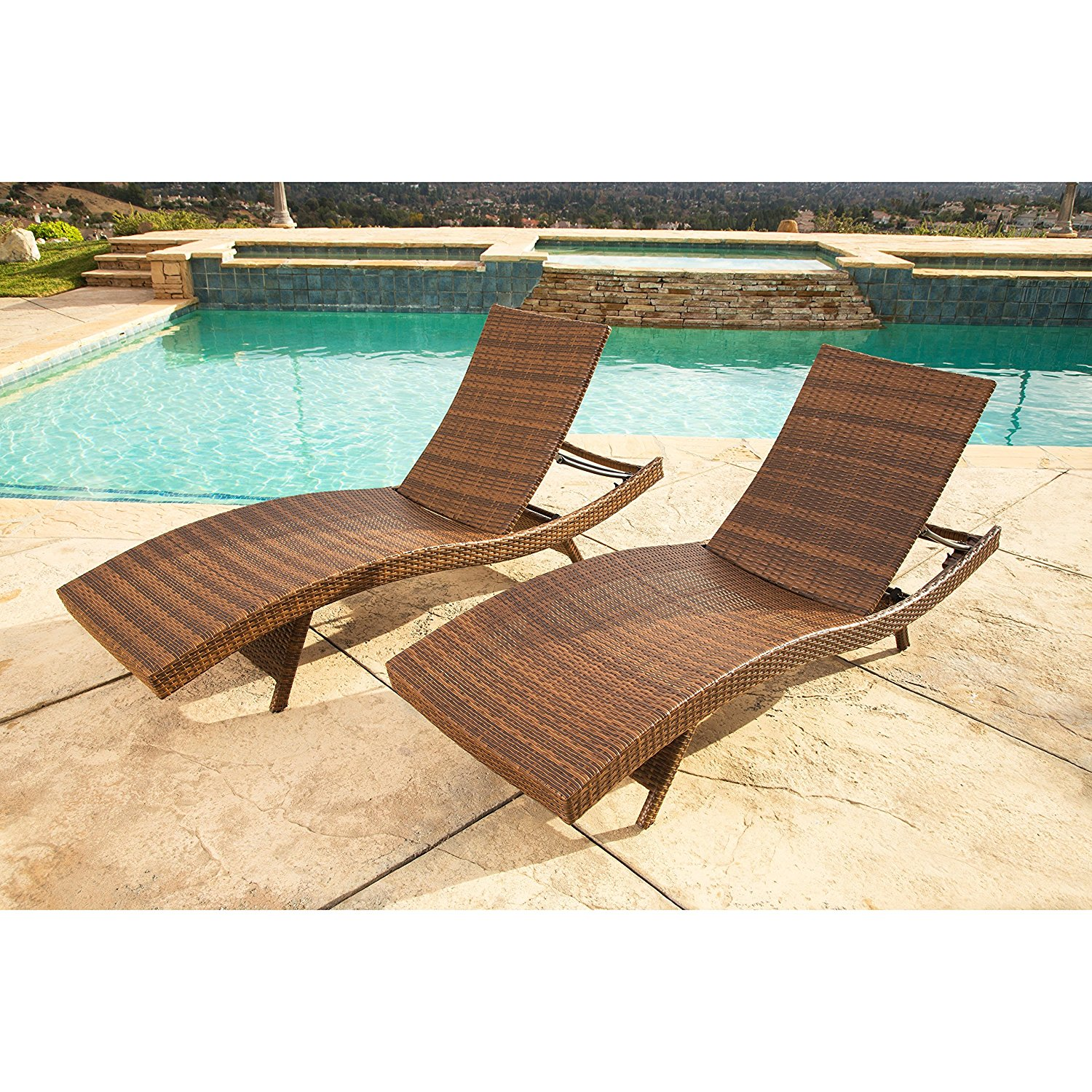 14th Mobility Water Resistant Comfortable Outdoor Patio Pool Chaise Lounge Set of 2 with Adjustable Back Frame, Constructed from Iron Frame and PE Wicker, Brown Color + Expert Guide