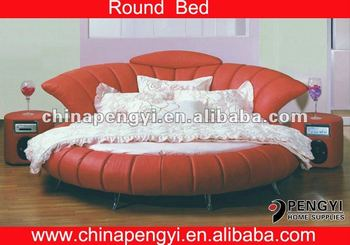 2017 Latest Design Round Leather Beds