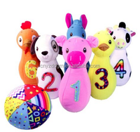 baby stuffed animal shape bowling plush toy/custom plush baby toys