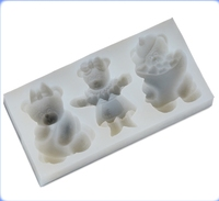 Good quality cheap price silicon baking mold 3 baby bear silicone cake baking molds