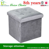 luxury gray flannelette with fake diamond buttons storage ottoman