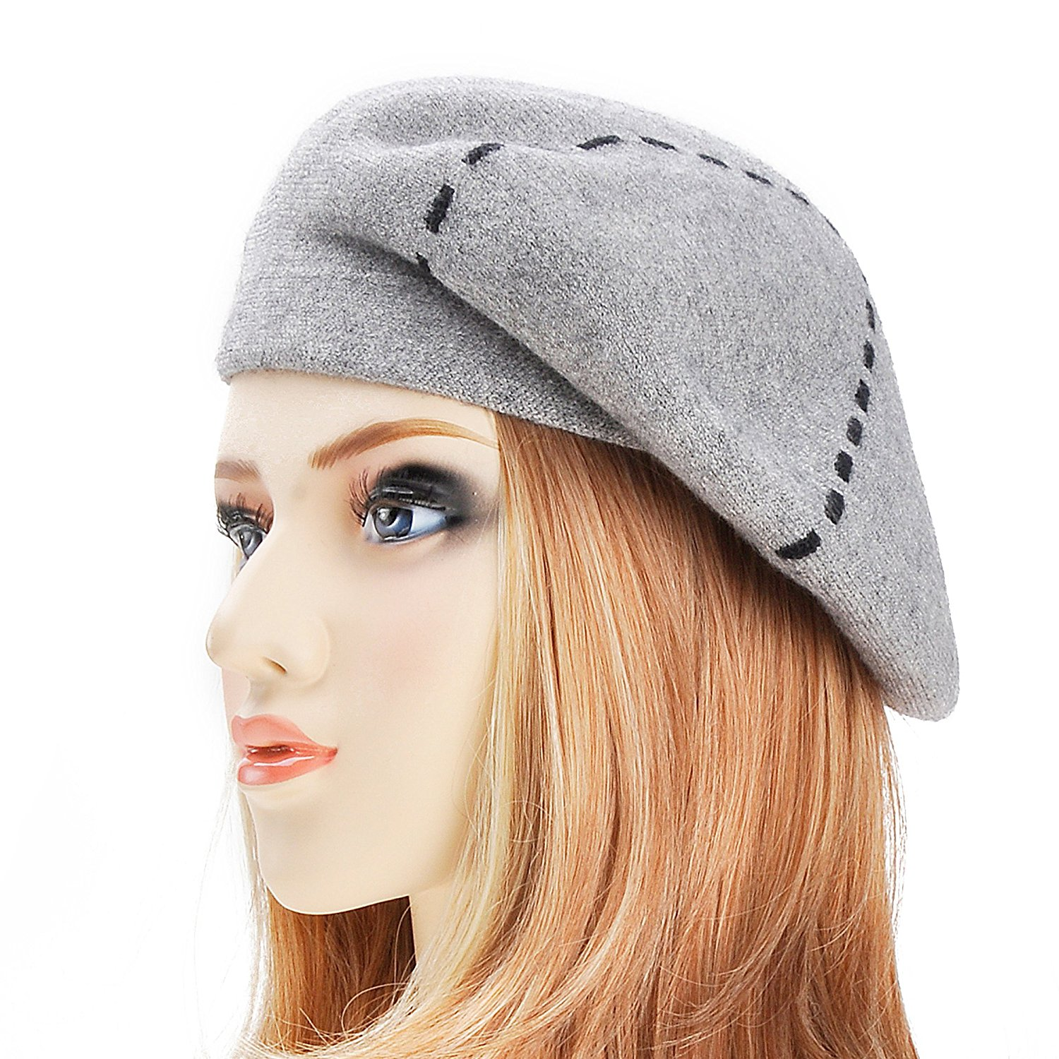 Get Quotations · ZLYC Womens Reversible Cashmere Beret Hat Double Layers French  Beret 89a1301c40b0