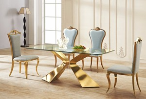 DT25 modern golden color luxury round marble dining table