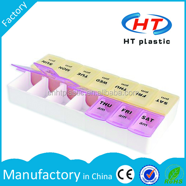 HTPE103 Factory Hot Sales For Promotion Plastic 7 day pill box am pm