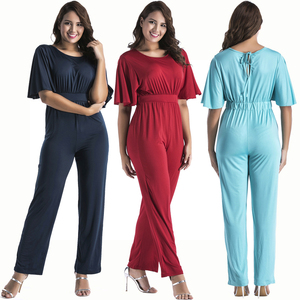 wholesale clothing Ladies half sleeve V neck soft sexy plus size jumpsuits for tall women