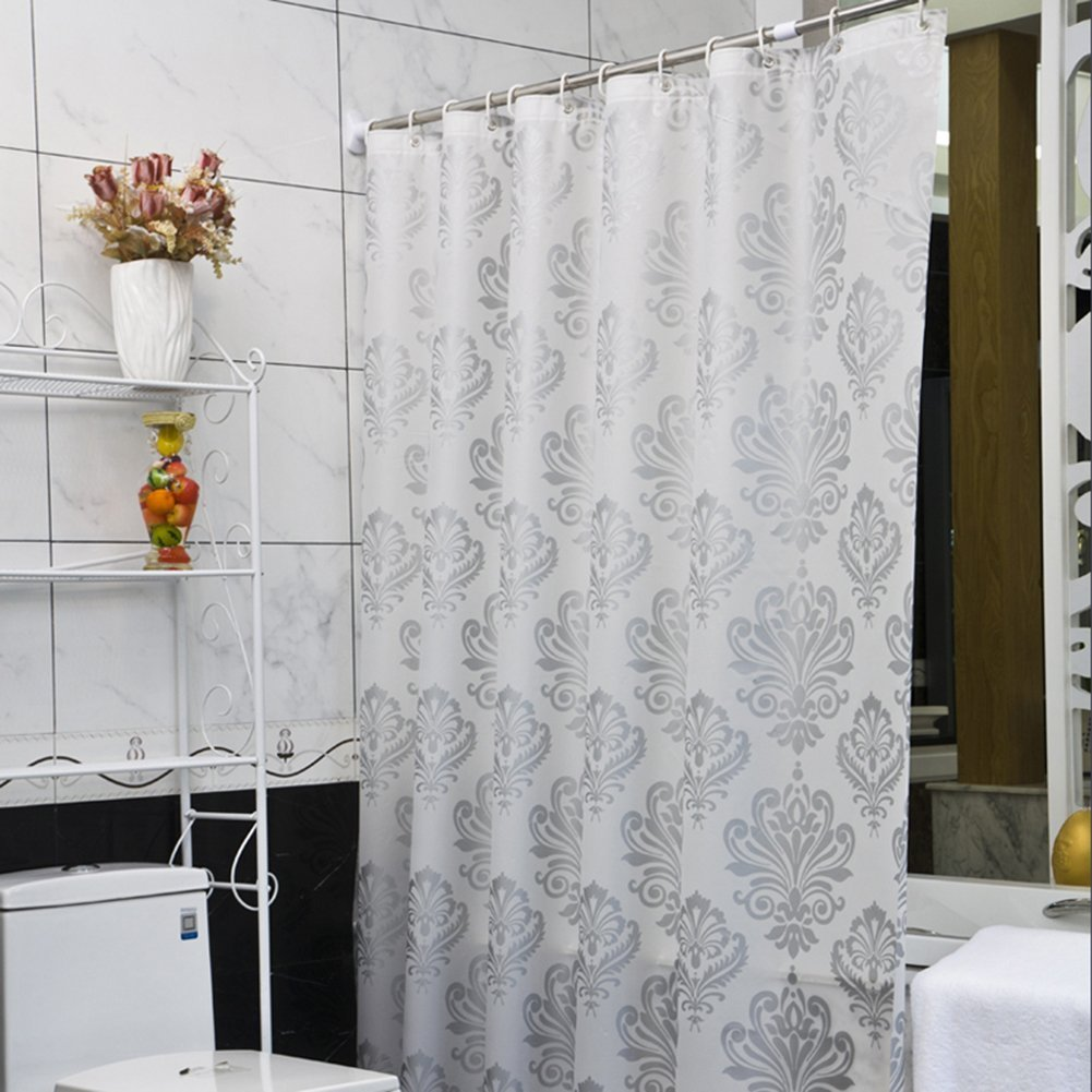 Super Thick White Silver Floral Waterproof Shower Curtain Liners Mildew Resistant No Odors No Chemicals Eco Friendly Heavy Duty Peva Machine Washable Metal grommets Extra Long 72 x72inches(Silver)