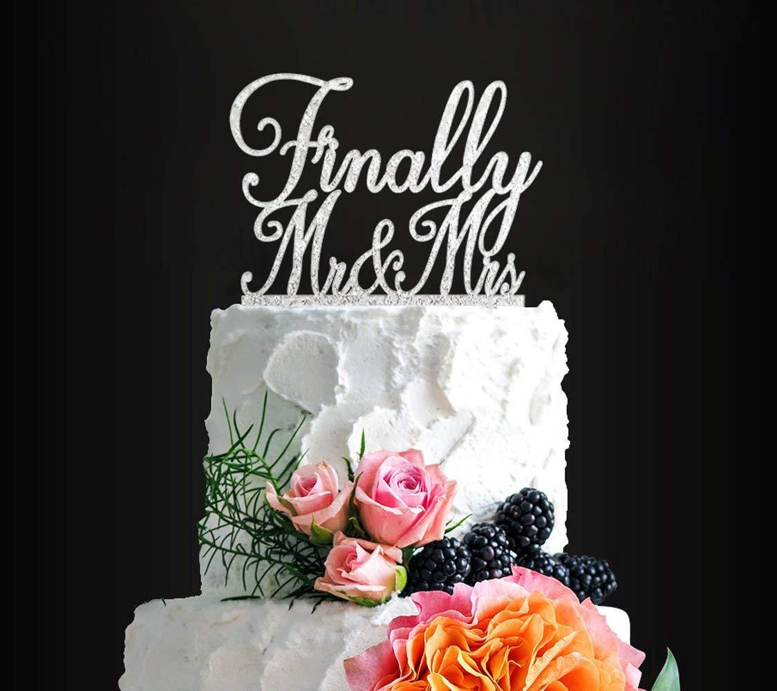 Get Quotations Glitter Silver Finally MrMrs Romantic Wedding Cake Topper Elegant For Anniversary