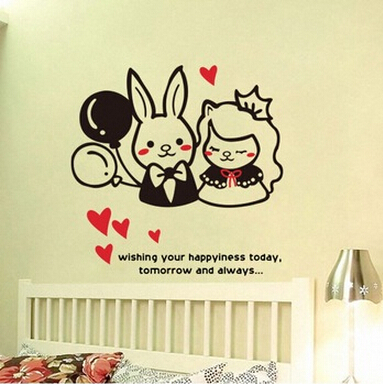 50*50cm Cozy Cute Rabbit Living Room Removable Wall Stickers Home Accessories Heart Balloon Paper Stickers Home Decor
