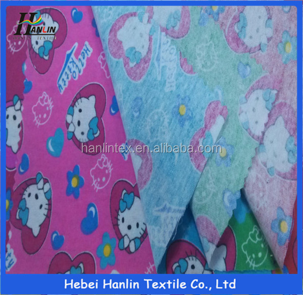 monochrome 100% cotton fabric for cloth/double layer flannel fabric cloths/100% cotton printed flannel fabric to nepal