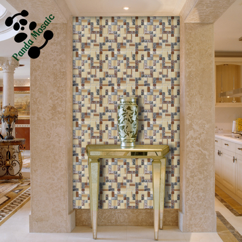 MB SMS17 Multi-color Mosaic Home Decor Crackle Glass Mosaic Tile Hallway  Backsplash Tile Interior