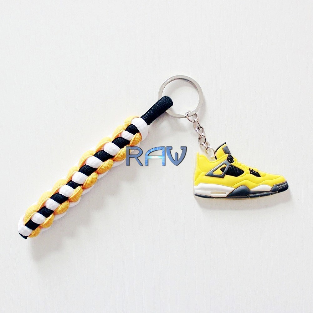 High Quality!!! Jordan Shoes Keychain for Keys Hot Sale Classic Air Jordan IV 4 Retro Keyring For Cars with Shoeslace Bracelets