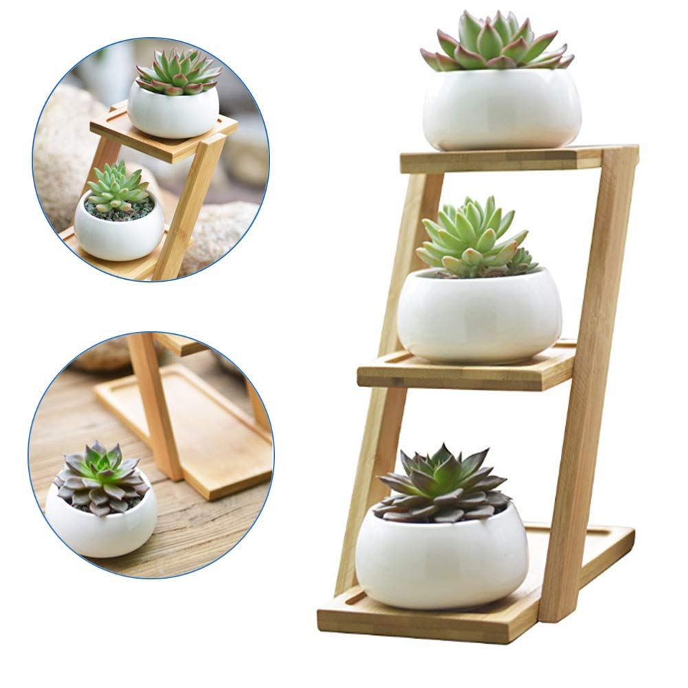 Get Quotations Bamboo Plant Stand 3 Tiers With Small Round White Ceramic Pots