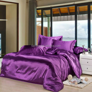Purple Micro Polyester Satin Bedding Sets Bed Sheet