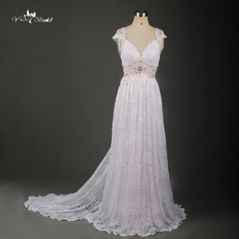 Tw0171 Backless Dress French Lace Fabric Beach Dress Blush Pink