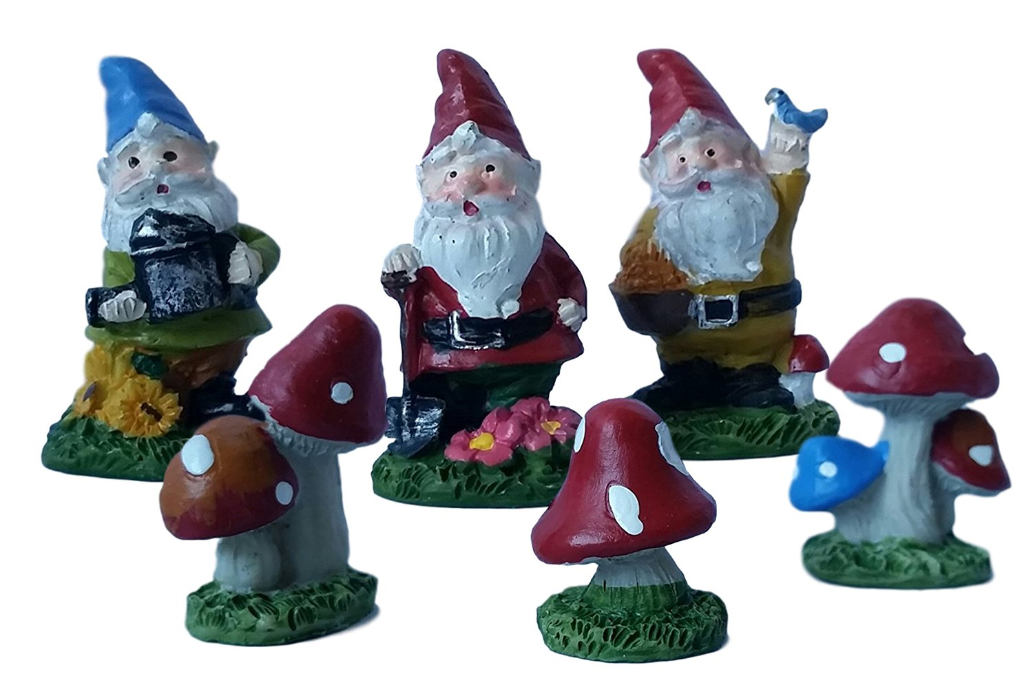 Get Quotations · 3 Gnomes 3 Toadstools Fairy Garden Figurines   2 Packs Of  3 Figures: 3 Gnomes