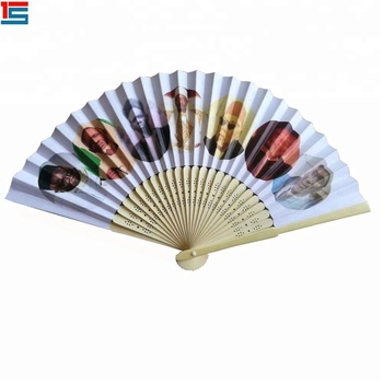 Custom printed designs folding hand fan with bamboo