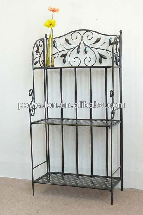 Simple Classic Scroll Powercoated Wrought Iron Folding 3 tiers shelf
