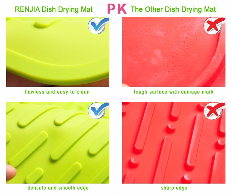 Renjia Kitchen Sink Protectors Mats Silicone Drying Mat Dishes Rubber Kitchen Sink Mats