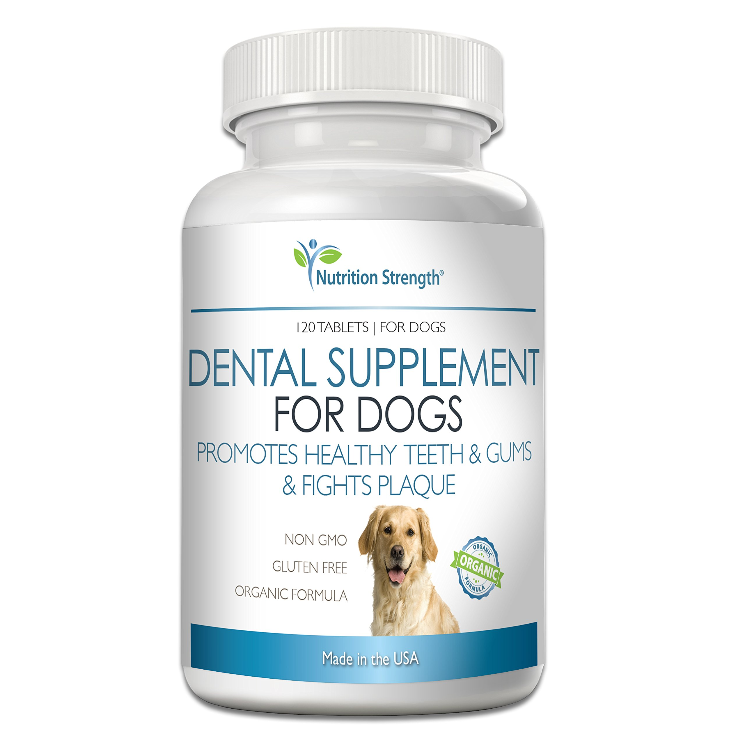Nutrition Strength Dental Care for Dogs, Daily Supplement for Healthy Dog Gums and Teeth with All-Organic Ingredients, 120 Chewable Tablets