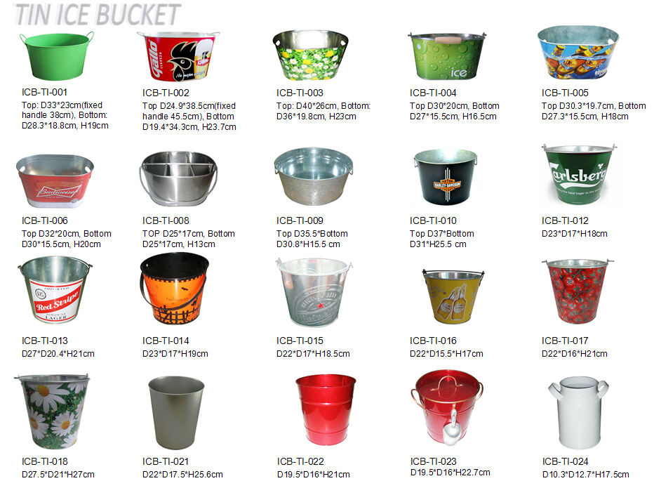 rectangle beer ice bucket, metal branded ice bucket