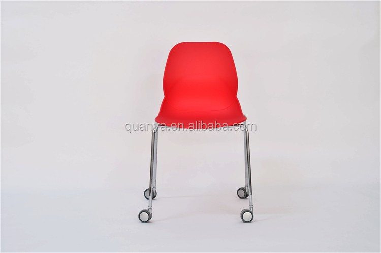 Office plastic chair shell with wheel red plastic wheels chair