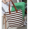 China factory good quality yellow/pink and white stripe canvas handbag