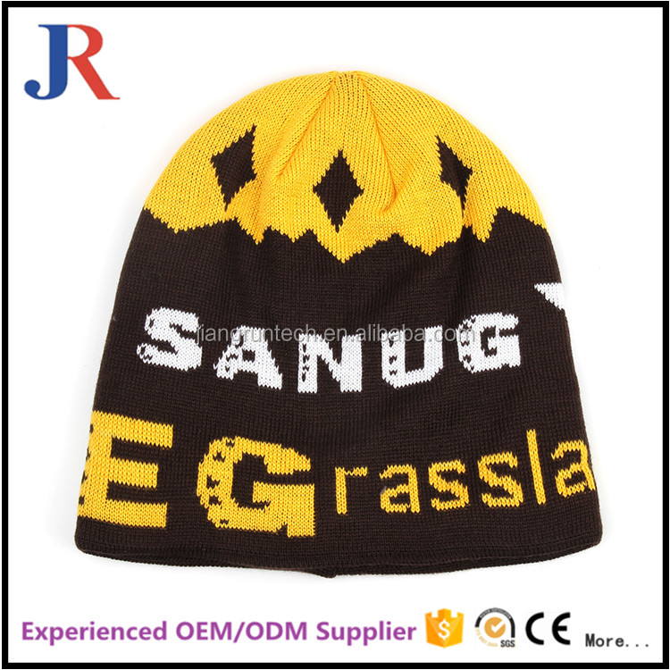 Hot sale cheap high quality warm satin lined winter hats beanies with all over graphic