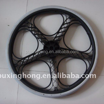 24*1 3/8 Wheelchair PU Foam Filled Solid Wheel With Plastic Rim