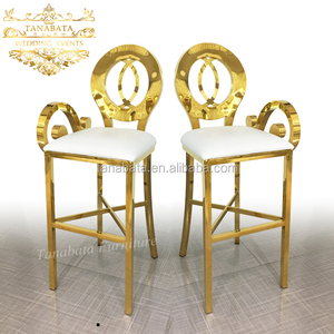 Foshan furniture event party wholesale golden bar stool for heavy people