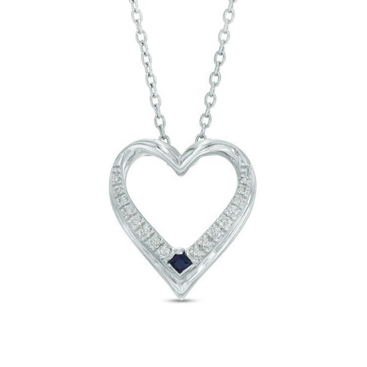 Competitive Heart shaped 925 sterling silver sapphire pendant jewelry