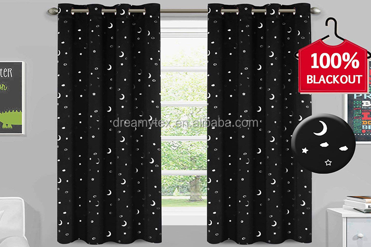 2018 Hot Sale Blackout Curtain High Shading Curtain, Star Pattern Silver Hot Stamping Print Curtain/