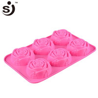 Amazon Hot Selling 6-Cavity Rose Flower Shape Silicone Baking Mini Cake Molds