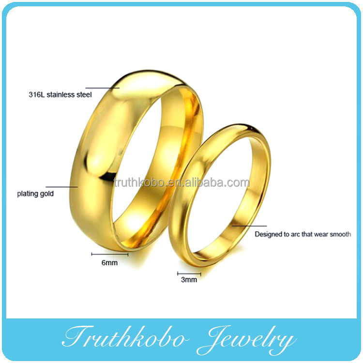 Vacuum Plating Plain Design Stainless Steel Jewelry Gold Rings